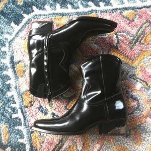 ZARA | Patent Leather Cowboy Boots